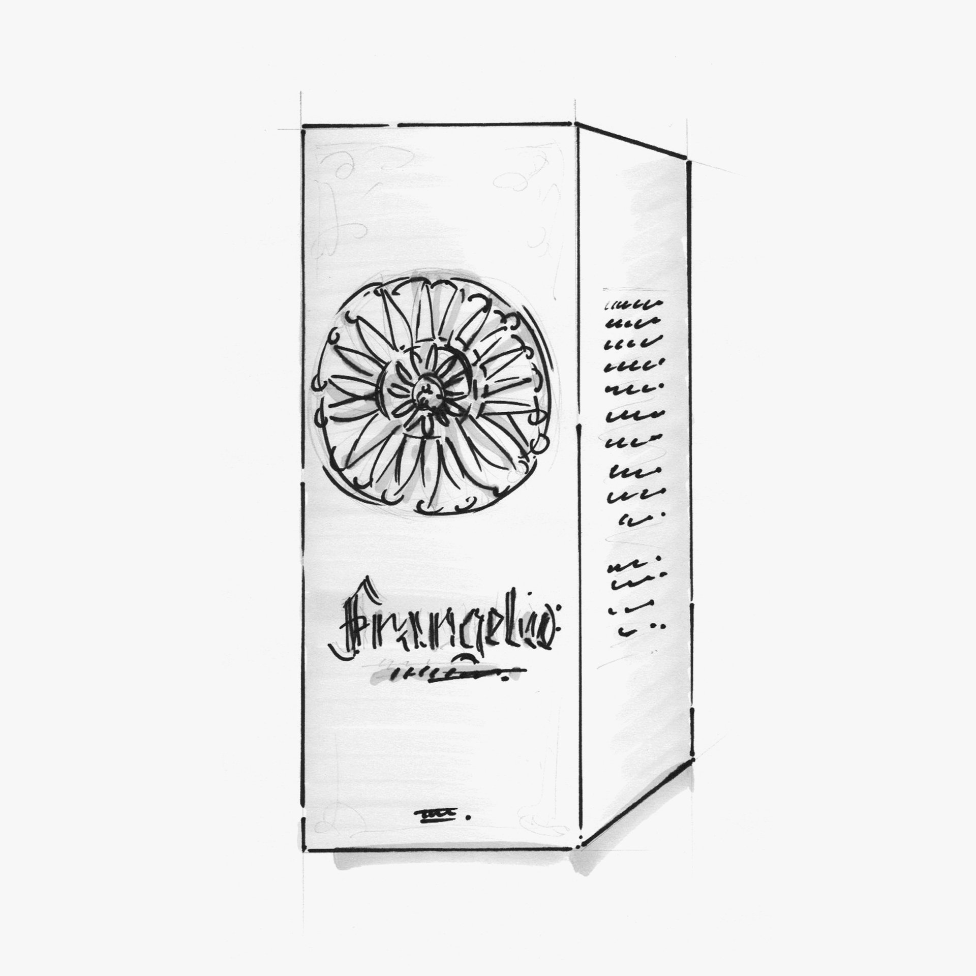 Frangelico liquer packaging sketching