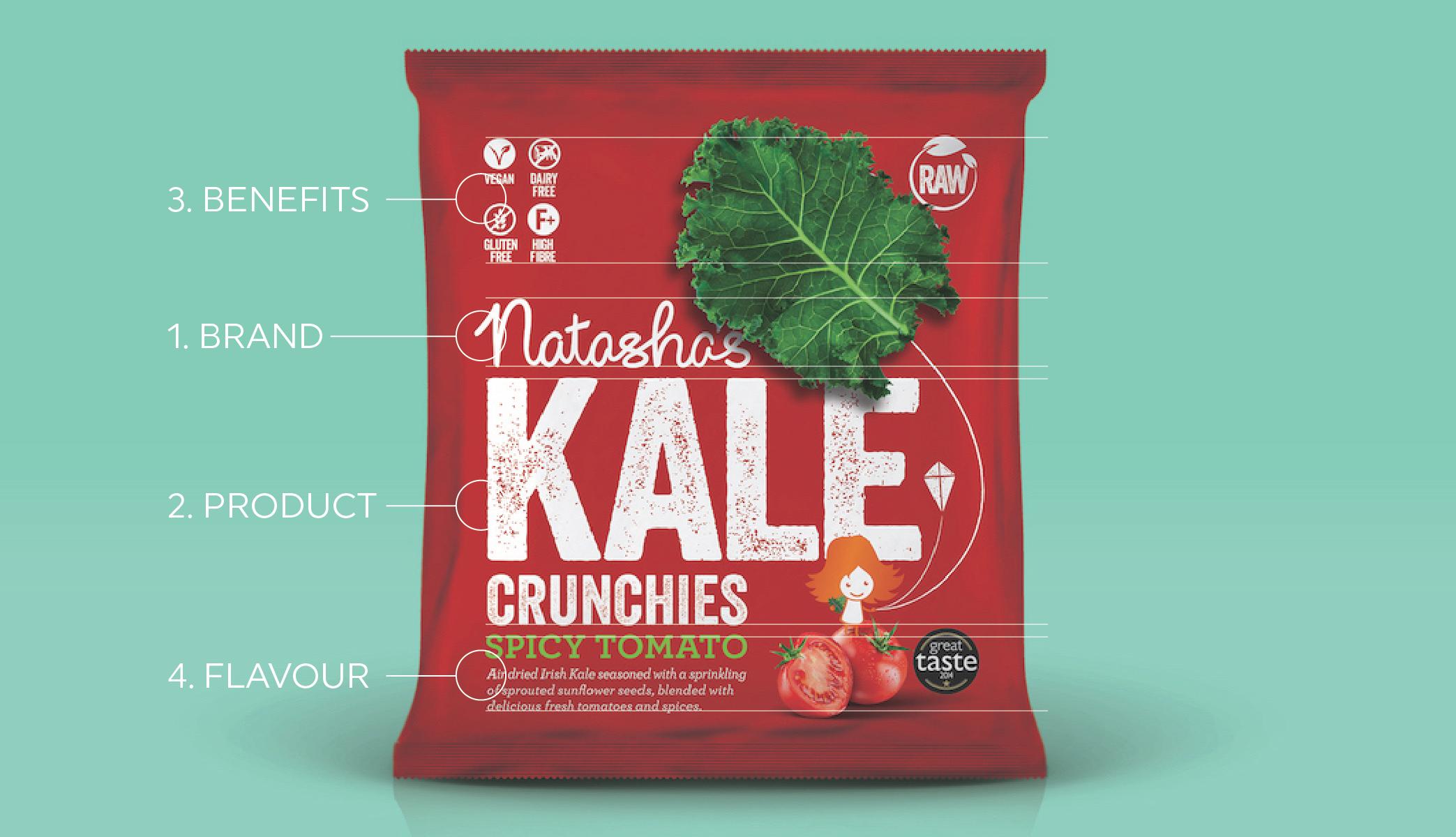 Natasha's Kale branding packaging